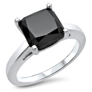 Noori 14k White Gold 2 2/5ct Black Cushion-cut Diamond Engagement Ring