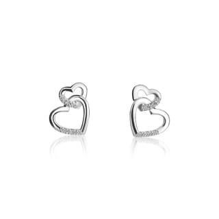 SummerRose, 14k white gold Double Heart Diamond Earrings, 0.12 TDW (H-I, SI1-SI2)