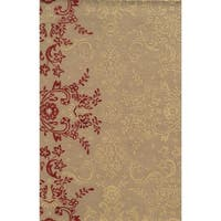 Rizzy Home Ivory/ Brown Rockport Collection 100-percent Wool Hand-Tufted Accent Rug (5' x 8') - 5' x 8'