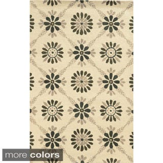 Rizzy Home Ivory/ Grey/ Beige Rockport Collection 100 Percent Wool  Hand Tufted