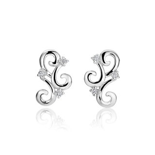 SummerRose, 14k white gold fashion diamond earrings, 0.10TDW (H-I, SI1-SI2)