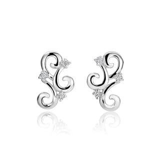 SummerRose, 14k white gold fashion diamond earrings, 0.10TDW (H-I, SI1-SI2) ( H-I, SI1-SI2)