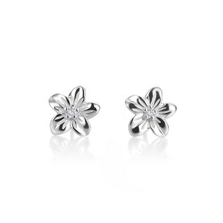 SummerRose, 14kt white gold Flower Diamond Stud Earrings, 0.06TDW (H-I, SI1-SI2) ( H-I, SI1-SI2)