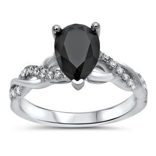 Noori 14k White Gold 1 1/3ct TDW Black Pear-shape Diamond Engagement Ring