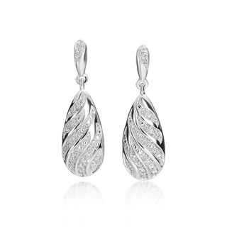 SummerRose 14k White Gold Diamond Accent Feather Drop Earrings