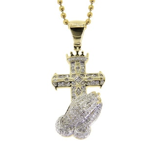 10K White 0.58ct TDW Diamond Cross with Praying Hand Pendant Necklace ( I2- i3, G-H)