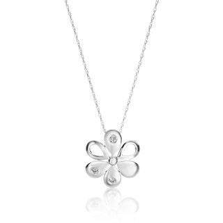 SummerRose 0.06 TDW 14k White Gold Diamond Flower Pendant