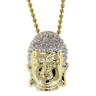 10K yellow 0.40ct TDW Diamond Buddha Head Pendant with Necklace