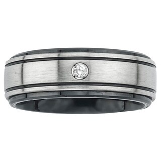 Ceramic and Stainless Steel Men's Diamond Accent Wedding Band By Ever One
