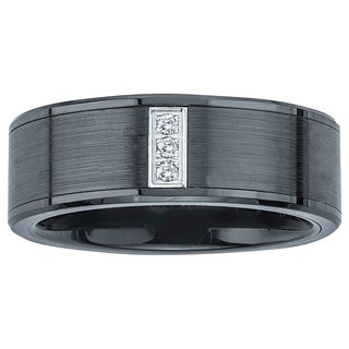 Black Ceramic and Stainless Steel Diamond Accent Wedding Band By Ever One