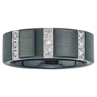 Ever One Black Ceramic and Stainless Steel Men's 1/4ct TDW Diamond Wedding Band