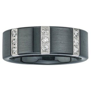Black Ceramic and Stainless Steel Men's 1/4ct TDW Diamond Wedding Band By Ever One