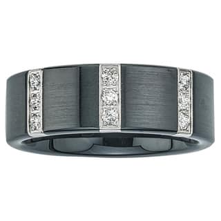 ever one black ceramic and stainless steel mens 14ct tdw diamond wedding band - Mens Wedding Ring With Diamonds