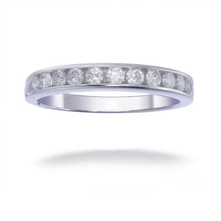 14K White Gold 1/2 CT TDW Round Diamond Wedding Band - White G-H