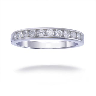 14K White Gold 1/2 CT TDW Round Diamond Wedding Band