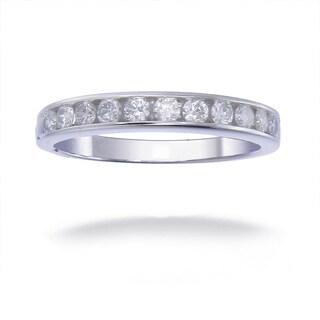 14K White Gold 1/2 CT TDW Round Diamond Wedding Band - White G-H