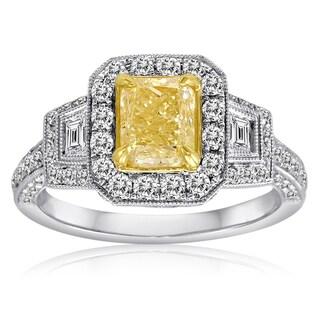 18k Two-tone Gold 2 1/2ct TDW Certified Fancy Intense Yellow Diamond Ring