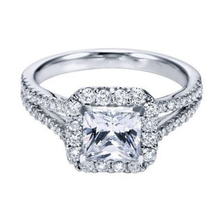 14k White Gold 1/4ct TDW Split Diamond and Cubic Zirconia Square Halo Engagement Ring (H-I, I1-I2)