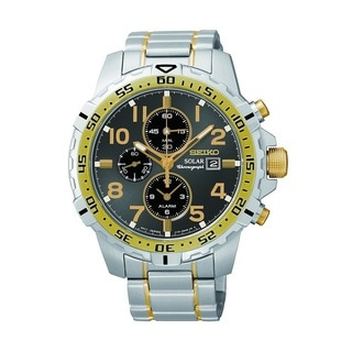 Seiko SSC304 Men's Two-tone Stainless Steel Solar Alarm Chronograph Watch