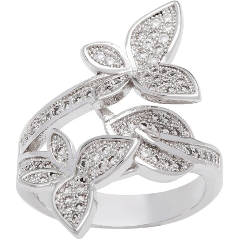 Simon Frank Rhodium Overlay 'Twin Butterfly' CZ Ring - Silver
