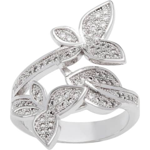 Silver Overlay 'Twin Butterfly' CZ Fashion Ring by Simon Frank Designs