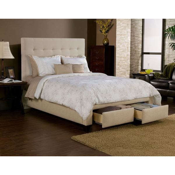 Manhattan Wheat/Beige 2 Drawer Upholstered Bed