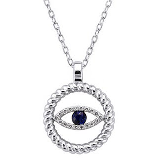 Beverly Hills Charm 10k White Gold Diamond Accent and Blue Sapphire Evil Eye Necklace