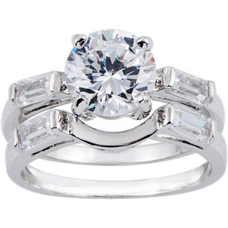 Simon Frank 1.67ct TDW CZ 2-piece Silvertone Bridal Set
