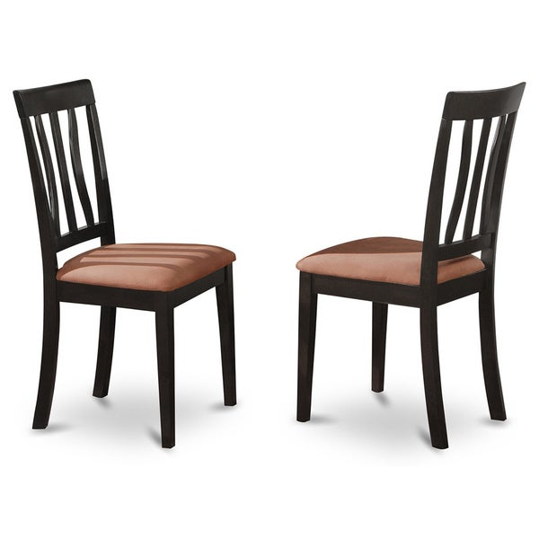 Black Cherry Finish Antique Kitchen Chair in Black and Cherry Finish (Set of 2)