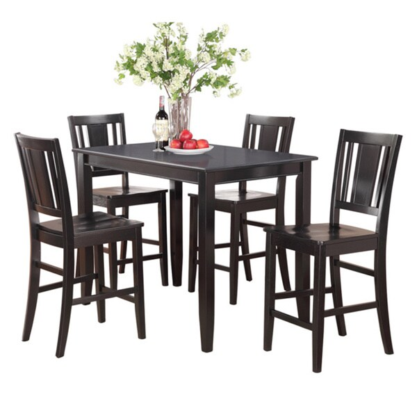 Black Counter Height Table And 4 Kitchen Counter Chairs 5 Piece Dining Set    Free Shipping Today   Overstock.com   17325096