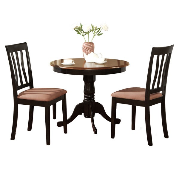 Black Dining Room Table And Chairs: Shop Black Round Kitchen Table Plus 2 Dining Room Chairs 3