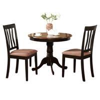 Black Round Kitchen Table Plus 2 Dining Room Chairs 3-piece Dining Set