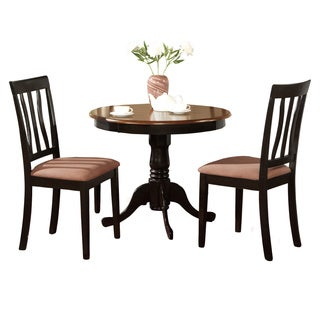 Black Round Kitchen Table Plus 2 Dining Room Chairs 3 Piece Dining Set
