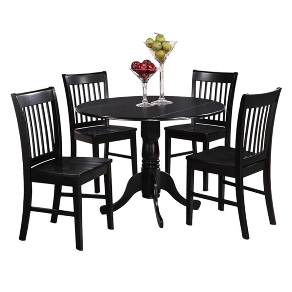 Black round kitchen table and 4 dinette chairs 5 piece for Black kitchen table set