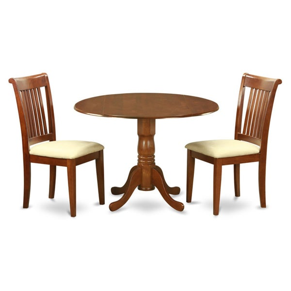 Delightful Saddle Brown Breakfast Nook Plus 2 Dinette Chairs 3 Piece Dining Set
