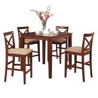 Dark Brown Gathering Table and 4 Counter Height Chairs 5-piece Dining Set