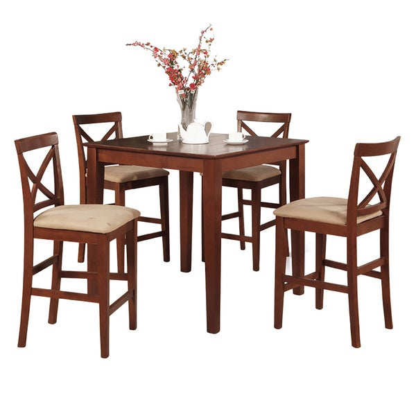 Balboa Counter Height Table Stool 3 Piece Dining Set: Shop Dark Brown Gathering Table And 4 Counter Height