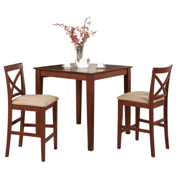 Dark Brown Pub Table And 2 Stools 3 Piece Dining Set