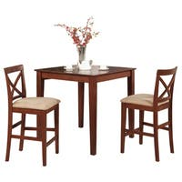 Dark Brown Pub Table and 2 Stools 3-piece Dining Set