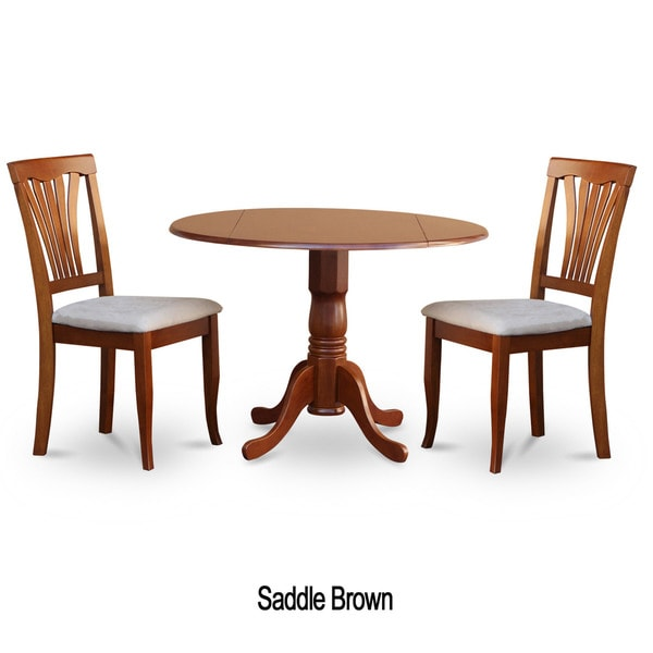 saddle brown round kitchen table and 2 dinette chairs 3 piece dining