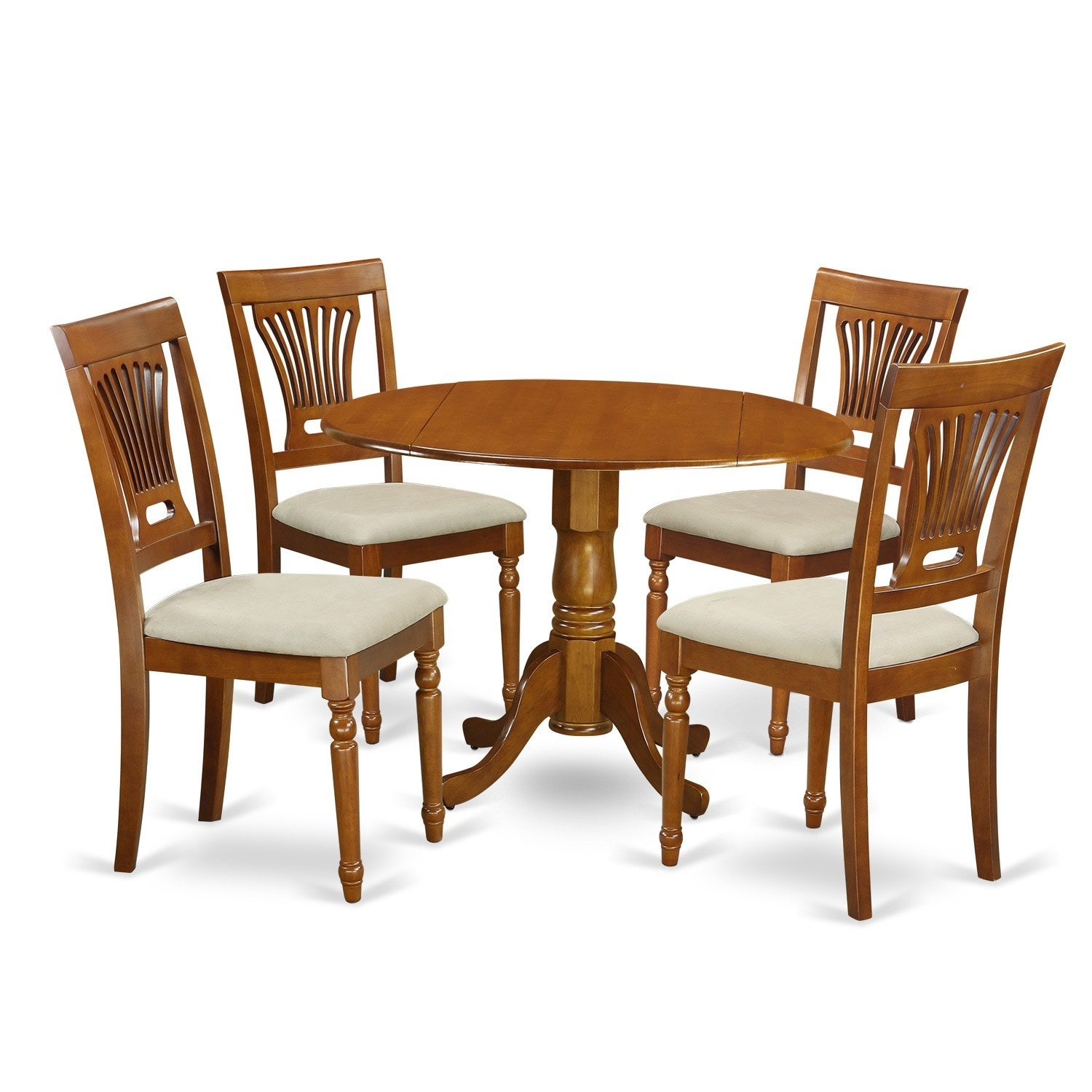 Saddle brown round table plus 4 dinette chairs 5 piece for Set de table matelasse