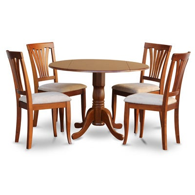 Saddle brown round table and 4 kitchen chairs 5 piece for Naaptol kitchen set 70 pieces