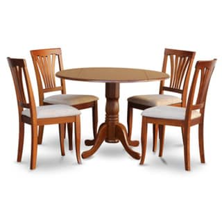 Saddle Brown Round Table and 4 Kitchen Chairs 5-piece Dining Set ...