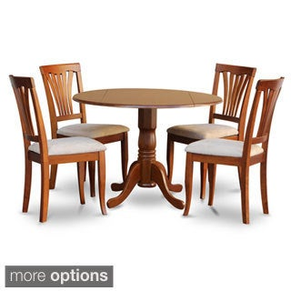 shop saddle brown round table and 4 kitchen chairs 5 piece dining set free shipping today. Black Bedroom Furniture Sets. Home Design Ideas
