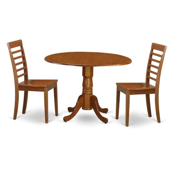 Saddle Brown Small Kitchen Table And 2 Chairs Dining Set