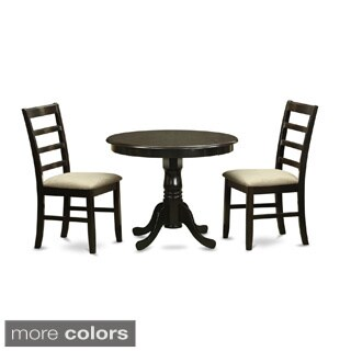 Cappuccino Round Kitchen Table and 2 Kitchen Chairs 3-piece Dining Set
