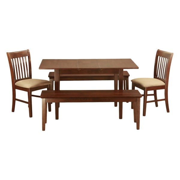 Mahogany dining benchtable plus 2 dining room chairs and 2 for 2 piece dining room set