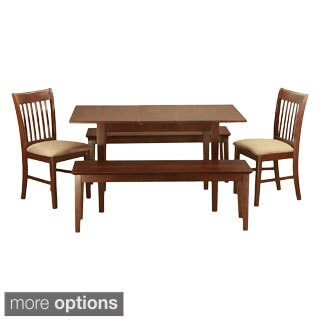 Mahogany BenchTable Plus 2 Dining Room Chairs and 2 Benches 5-piece Dining Set