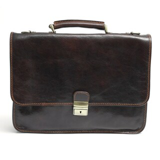 Alberto Bellucci Dark Brown Double Compartment Italian Leather Messenger Brief
