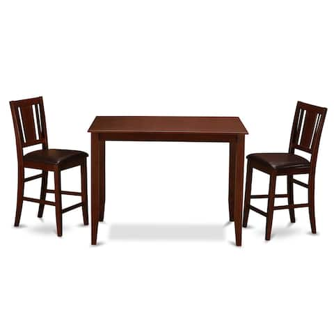 Mahogany Counter Height Table and 2 Counter Height Chairs Dining Set